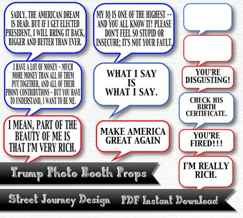 Trump Photo Booth Digital Download 26 Piece PDF Printable 300 DPI