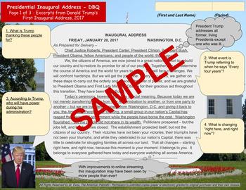 Trump's First Inaugural Address - DBQ - PDF for Handouts