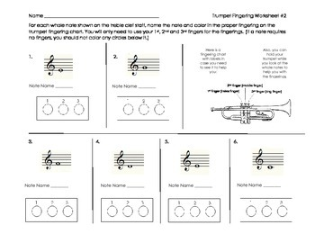 Trumpet Fingering Worksheet 2 for Band Beginners