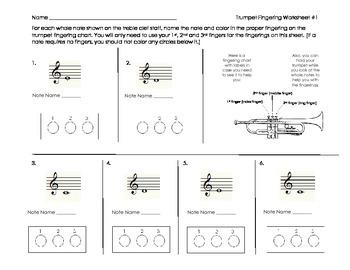 Trumpet Fingering Worksheet for Band Beginners