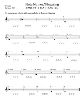 Trumpet and Baritone TC Fingering Worksheets