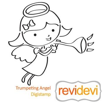 Trumpeting angel (digital stamp, coloring image) S039