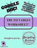 Truth Tables Worksheet - Google Document