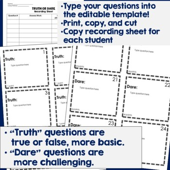 Truth or Dare Review Game Template