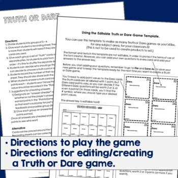 Truth or Dare Review Game Template  TpT