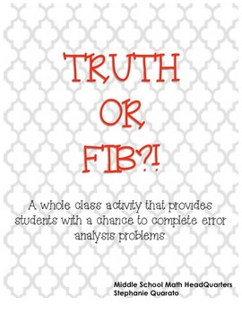 Truth or Fib?! An Error Analysis Activity