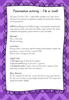 Punctuation Activity - Truth or Fib