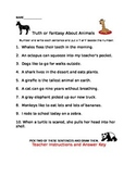 Truth v.s, Fantasy Animal Fun (for Review or Practice) Distance Learning