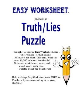 Truth/Lies Logic Puzzle--Improve critical thinking and logic skills!