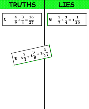 Truths and Lies - Dividing Fractions