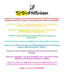 Truths of Middle School Poster