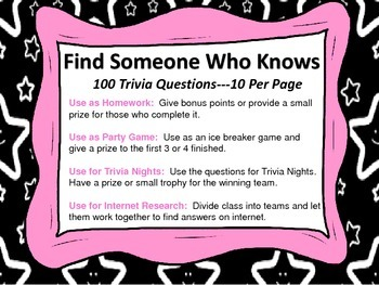 Trivia Questions Sampler--Find Someone Who Knows--FREEBIE