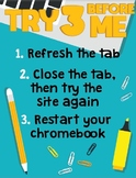 Try 3 Before Me Chromebook Technology Poster **3 easy-to-print sizes included!**