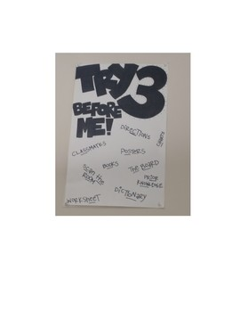 Try 3 Before Me Classroom Poster - Made by hand and shipped to you!