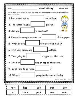 Sentence Fill-Ins FREEBIE ~ What's Missing? ~ Cut & Paste