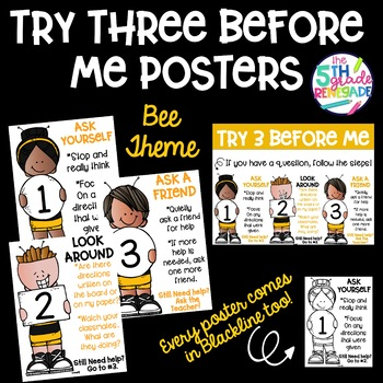 Try Three Before Me Posters (Ask Three) Bee Bumblebee Theme