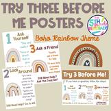 Try Three Before Me Posters (Ask Three) Boho Rainbow Theme