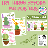 Try Three Before Me Posters (Ask Three) Cactus Succulent T