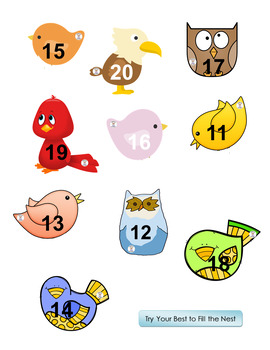 Math- Number/Number Word Recognition - Try Your Best to Fill the Nest