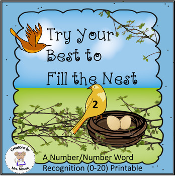 Math-Number Recognition & Words - Try Your Best to Fill the Nest