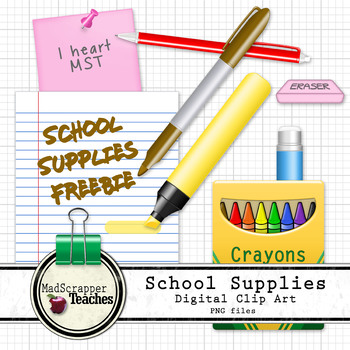 Try it Free! School Supplies Office Supplies Digital Clip Art PNG files