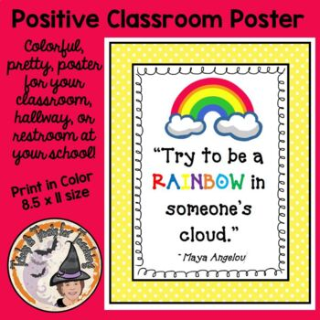 Try to be a RAINBOW KINDNESS Poster Back to School BE KIND theme quote