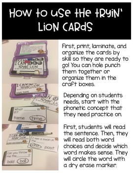 Tryin' Lion Task Cards