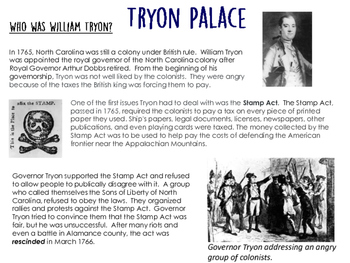 Tryon Palace Reading Comprehension for Fourth Graders