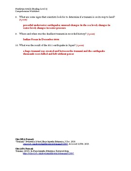 Tsunami Article (Reading Level 2) Comprehension Worksheet