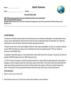 Tsunami Gallery Walk Worksheet