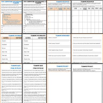 Tsunami Unit Bundle: PowerPoint, Worksheets, Flipbook, Stem Activity