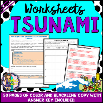 Tsunami Worksheets with Blackline Copy and Answer Key