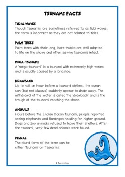 Tsunamis Fact Cards