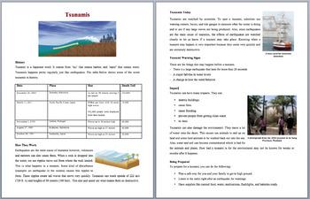 Tsunamis - Science Reading Article - Grades 5-7
