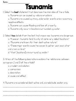 Tsunamis Text and Question Set - FSA/PARCC-Style ELA Assessment