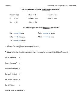 Tú Commands (Affirmative & Negative)