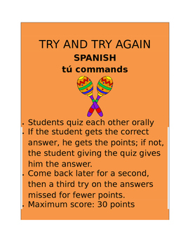 Tû Commands SPANISH  Try and Try Again