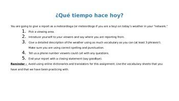 Tu Eres Un Meterologo - Avancemos 1 Leccion Preliminar Writing Project