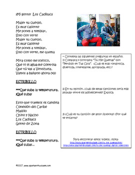 Tu Me Quemas Spanish Music Activity with Comprehension Questions