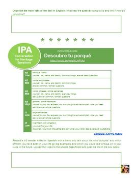 Tu Porqué: IPA for Heritage Spanish Speakers