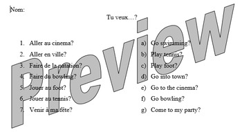 Tu veux? Going out translation match up activity