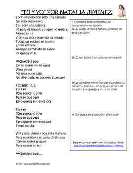 Tu y Yo Spanish Song Activity