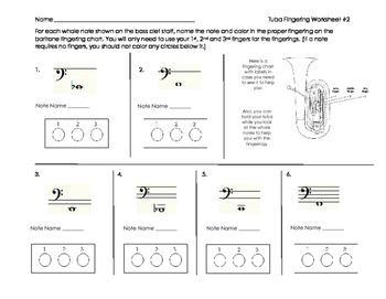 Tuba Fingering Worksheet 2 for Band Beginners