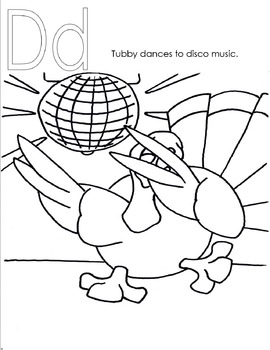 Tubby The Turkey Alphabet Coloring & Activity Book & song ABC Faster Please