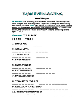 "Tuck Everlasting: 10 Word Merges—One ""Word"" Becomes Two!"
