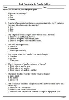 Tuck Everlasting - 100 Question Multiple Choice Quiz