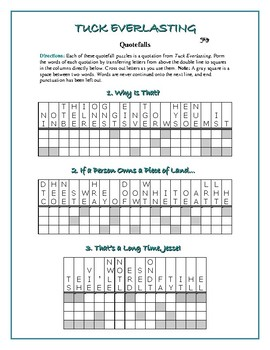 Tuck Everlasting: 12 Quotefall Puzzles—Students love these unique puzzles!