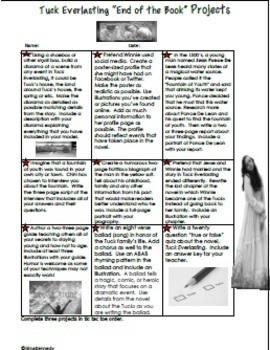 Tuck Everlasting Novel Study & Enrichment Project Menu