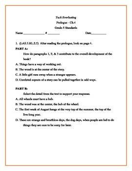 Tuck Everlasting 5th Grade Florida Standards 1st Quiz