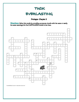 Tuck Everlasting: 6 Vocabulary Crosswords by Sections—Unique!